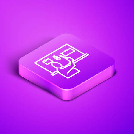 Isometric line Stop plastic pollution icon isolated on purple background. Ecological poster. Purple square button. Vector Illustration. 向量圖像