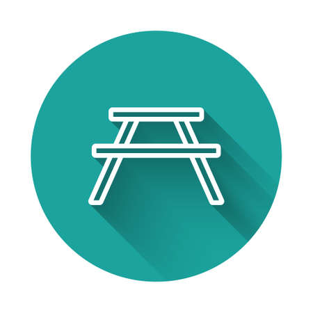 White line Picnic table with benches on either side of the table icon isolated with long shadow. Green circle button. Vector Illustration.