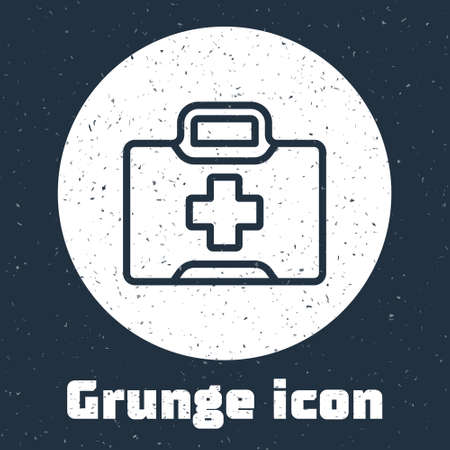 Grunge line First aid kit icon isolated on grey background. Medical box with cross. Medical equipment for emergency. Healthcare concept. Monochrome vintage drawing. Vector Illustration.