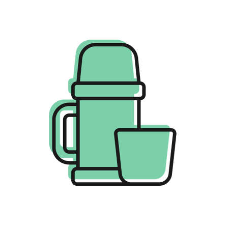 Black line Thermo container and cup icon isolated on white background. Thermo flask icon. Camping and hiking equipment. Vector Illustration. 일러스트