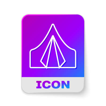 White line Tourist tent icon isolated on white background. Camping symbol. Rectangle color button. Vector Illustration. 일러스트
