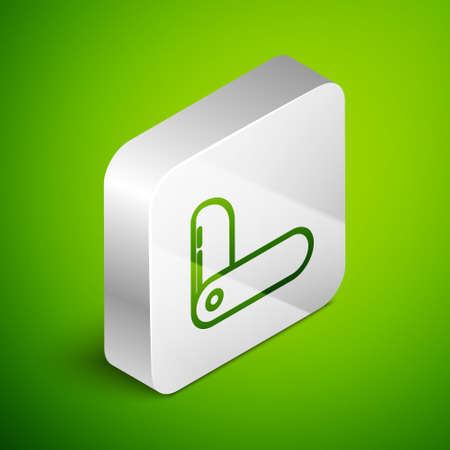 Isometric line Swiss army knife icon isolated on green background. Multi-tool, multipurpose penknife. Multifunctional tool. Silver square button. Vector Illustration. 일러스트