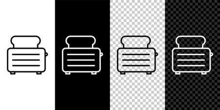 Set line Toaster with toasts icon isolated on black and white background. Vector Illustration.