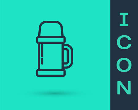 Black line Thermo container icon isolated on green background. Thermo flask icon. Camping and hiking equipment. Vector Illustration.