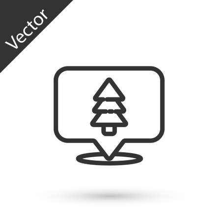 Grey line Location of the forest on a map icon isolated on white background. Vector Illustration. 일러스트