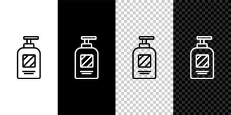 Set line Bottle of shampoo icon isolated on black and white background. Vector Illustration.