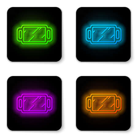 Glowing neon line Hand mirror icon isolated on white background. Black square button. Vector Illustration.