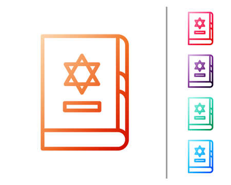 Red line Jewish torah book icon isolated on white background. On the cover of the Bible is the image of the Star of David. Set color icons. Vector Illustration. Vektorové ilustrace