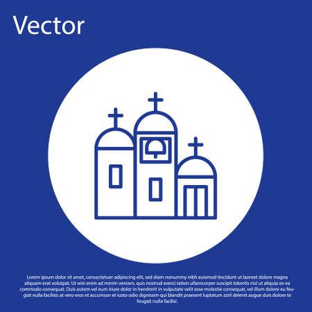 Blue line Church building icon isolated on blue background. Christian Church. Religion of church. White circle button. Vector Illustration. Illusztráció
