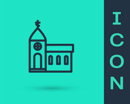 Black line Church building icon isolated on green background. Christian Church. Religion of church. Vector Illustration.