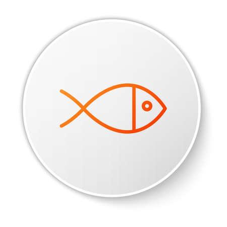Orange line Christian fish symbol icon isolated on white background. Jesus fish symbol. White circle button. Vector Illustration.