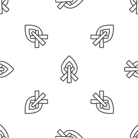 Grey line Campfire icon isolated seamless pattern on white background. Burning bonfire with wood. Vector Illustration.