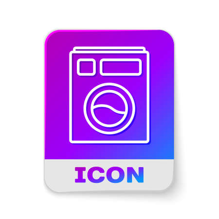 White line Washer icon isolated on white background. Washing machine icon. Clothes washer - laundry machine. Home appliance symbol. Rectangle color button. Vector Illustration. 일러스트