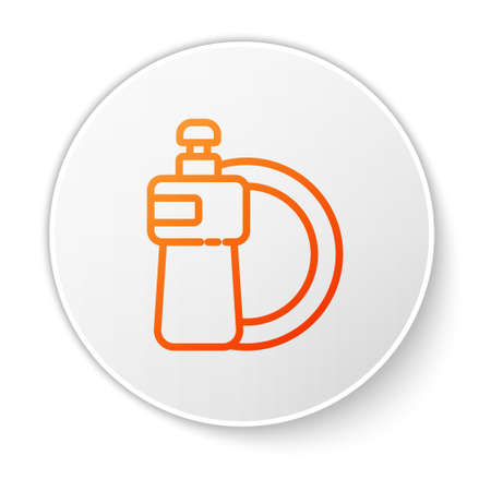 Orange line Dishwashing liquid bottle and plate icon isolated on white background. Liquid detergent for washing dishes. White circle button. Vector Illustration.