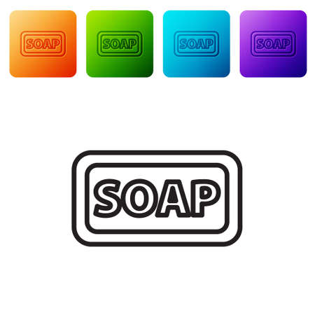 Black line Bar of soap icon isolated on white background. Soap bar with bubbles. Set icons in color square buttons. Vector Illustration.