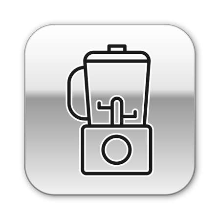 Black line Blender icon isolated on white background. Kitchen electric stationary blender with bowl. Cooking smoothies, cocktail or juice. Silver square button. Vector Illustration. Çizim