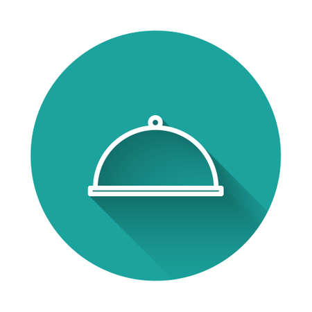 White line Covered with a tray of food icon isolated with long shadow. Tray and lid. Restaurant cloche with lid. Kitchenware symbol. Green circle button. Vector Illustration.