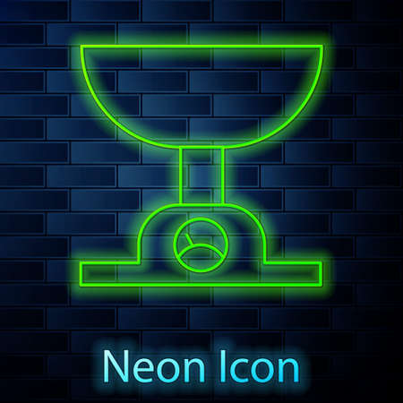 Glowing neon line Electronic scales icon isolated on brick wall background. Weight measure equipment. Vector Illustration.  イラスト・ベクター素材