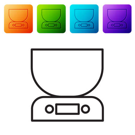 Black line Electronic scales icon isolated on white background. Weight measure equipment. Set icons in color square buttons. Vector Illustration.
