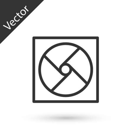 Grey line Ventilation icon isolated on white background. Vector Illustration. 向量圖像