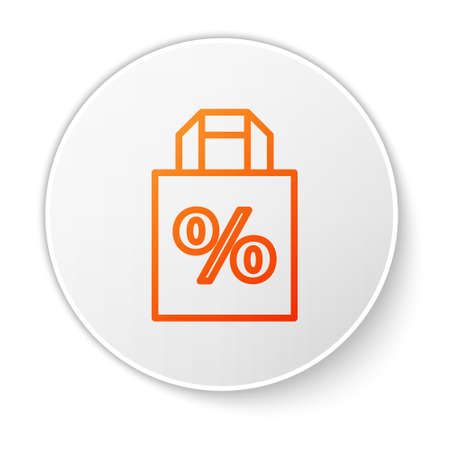 Orange line Shoping bag with an inscription percent discount icon isolated on white background. Handbag sign. White circle button. Vector Illustration.