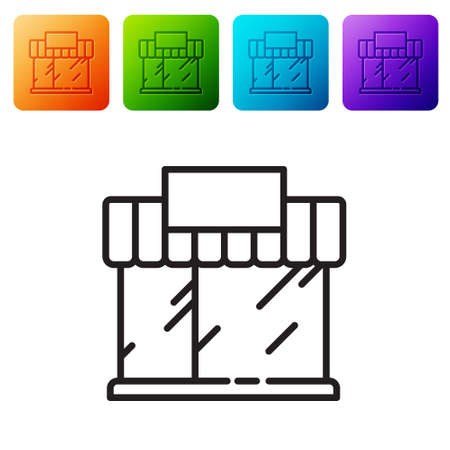 Black line Shopping building or market store icon isolated on white background. Shop construction. Set icons in color square buttons. Vector Illustration.