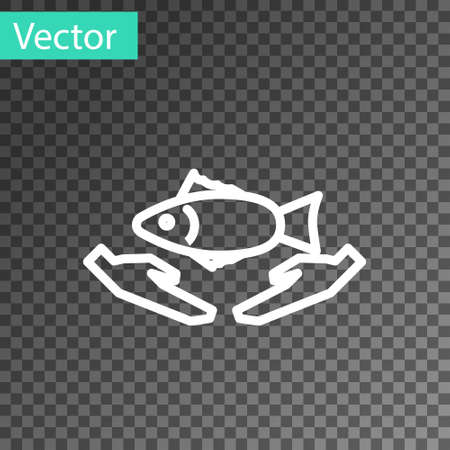 White line Fish care icon isolated on transparent background. Vector Illustration.