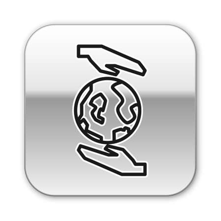 Black line Human hands holding Earth globe icon isolated on white background. Save earth concept. Silver square button. Vector Illustration.