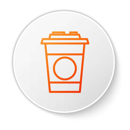 Orange line Paper glass icon isolated on white background. Soda drink glass. Fresh cold beverage symbol. White circle button. Vector Illustration. Ilustracja
