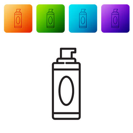 Black line Shaving gel foam icon isolated on white background. Shaving cream. Set icons in color square buttons. Vector Illustration. 일러스트