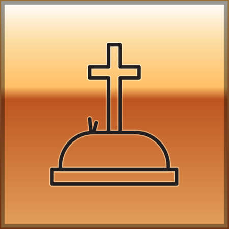 Black line Tombstone with cross icon isolated on gold background. Grave icon. Vector Illustration.
