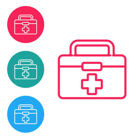 Red line First aid kit icon isolated on white background. Medical box with cross. Medical equipment for emergency. Healthcare concept. Set icons in circle buttons. Vector Illustration. Ilustracja