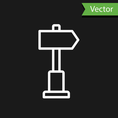 White line Road traffic sign. Signpost icon isolated on black background. Pointer symbol. Street information sign. Direction sign. Vector Illustration. 일러스트