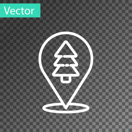 White line Location of the forest on a map icon isolated on transparent background. Vector Illustration.