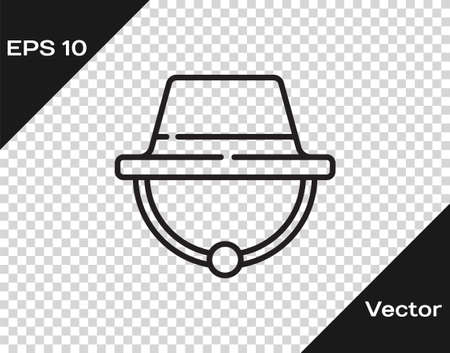 Black line Camping hat icon isolated on transparent background. Beach hat panama. Explorer travelers hat for hunting, hiking, tourism. Vector Illustration. 일러스트