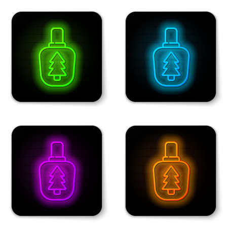 Glowing neon line Canteen water bottle icon isolated on white background. Tourist flask icon. Jar of water use in the campaign. Black square button. Vector Illustration.