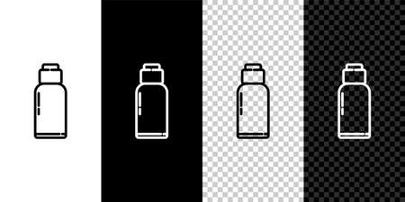 Set line Canteen water bottle icon isolated on black and white background. Tourist flask icon. Jar of water use in the campaign. Vector Illustration.