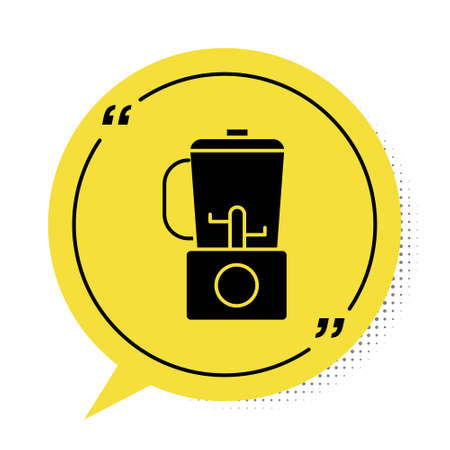 Black Blender icon isolated on white background. Kitchen electric stationary blender with bowl. Cooking smoothies, cocktail or juice. Yellow speech bubble symbol. Vector Illustration.