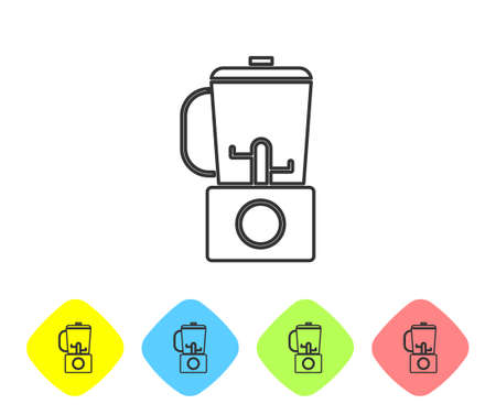 Grey line Blender icon isolated on white background. Kitchen electric stationary blender with bowl. Cooking smoothies, cocktail or juice. Set icons in color rhombus buttons. Vector Illustration.