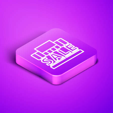 Isometric line Shopping building or market store icon isolated on purple background. Supermarket sale concept. Purple square button. Vector Illustration. 일러스트