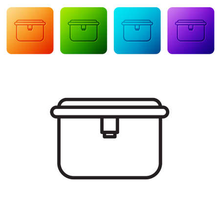 Black line Lunch box icon isolated on white background. Set icons in color square buttons. Vector Illustration.