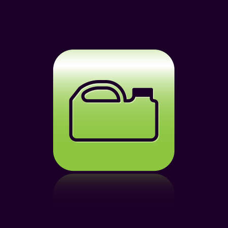 Black line Plastic canister for motor machine oil icon isolated on black background. Oil gallon. Oil change service and repair. Green square button. Vector Illustration.