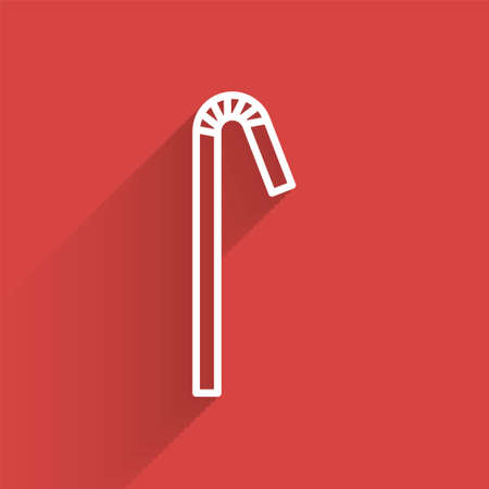White line Drinking plastic straw icon isolated with long shadow. Vector Illustration. Ilustração