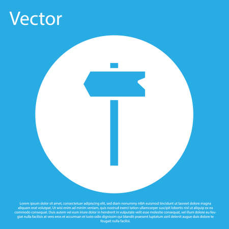 Blue Road traffic sign. Signpost icon isolated on blue background. Pointer symbol. Isolated street information sign. Direction sign. White circle button. Vector. Ilustração