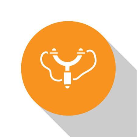White Slingshot icon isolated on white background. Orange circle button. Vector