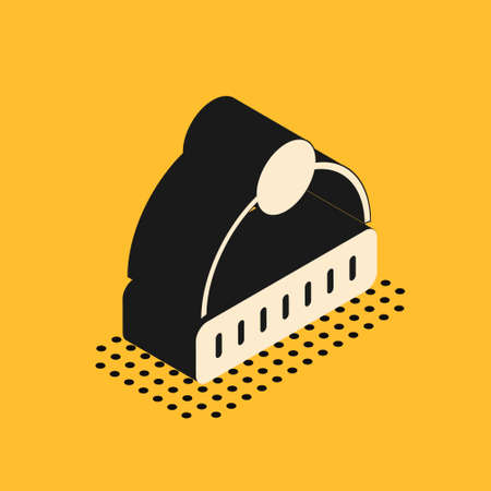 Isometric Winter hat icon isolated on yellow background. Vector. Ilustrace