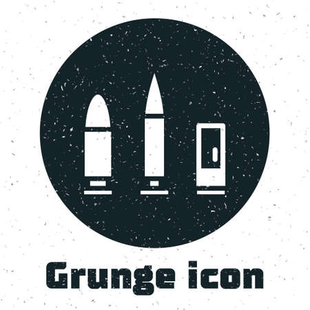 Grunge Bullet and cartridge icon isolated on white background. Monochrome vintage drawing. Vector