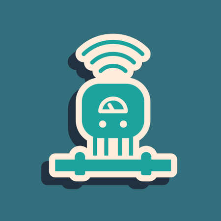 Green Smart sensor system icon isolated on green background. Internet of things concept with wireless connection. Long shadow style. Vector. Illustration