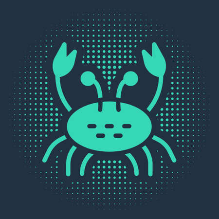 Green Crab icon isolated on blue background. Abstract circle random dots. Vector