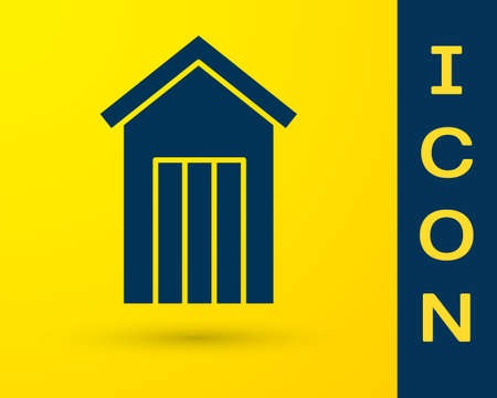Blue Wooden outdoor toilet icon isolated on yellow background. Vector.